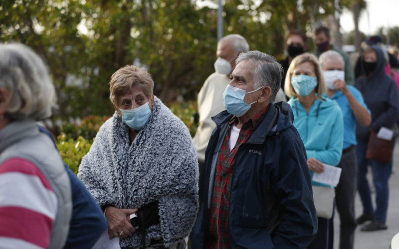 Senior Citizens Line Up For Vaccinations Administered By Florida Department Of Health